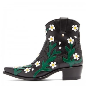Black and Green Flower Block Heel Western Boots