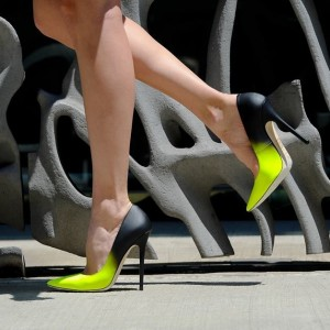 Women's Lime and Black Stiletto Heels Dress Shoes Pointy Toe Elegant Pumps
