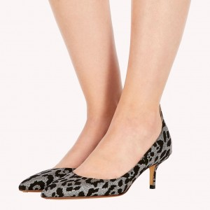 Black and Grey Animal Print Kitten Heels Pumps