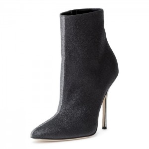 Black and Grey Contrast Color Stiletto Boots Ankle Boots