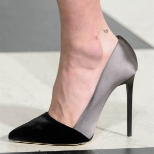 Black and Grey Pointy Toe Pumps Office Heels Women's Formal Shoes