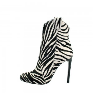 Black and White Zebra Horsehair Stiletto Boots Round Toe Ankle Booties
