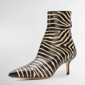 Black and Khaki Zebra Kitten Heel Boots Pointy Toe Ankle Booties