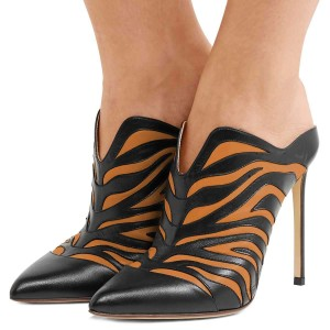 Black and Orange Animal Print Mule Heels Pumps