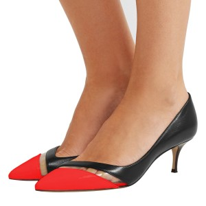 Black and Red Clear Stripe Kitten Heels Pumps