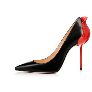 Black and Red Patent Leather Curvy Stiletto Heels Pumps