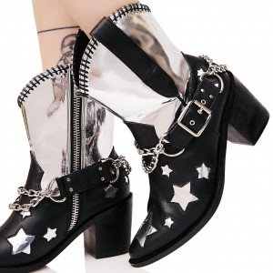 Black and Silver Cowgirl Boots Star Chunky Heel Mid Calf Boots