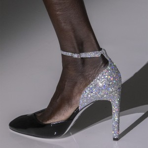 Black and Silver Glitter Shoes Patent Leather Ankle Strap Pumps