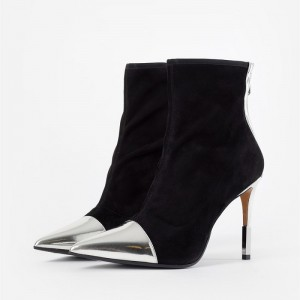 Black and Silver Stiletto Boots Pointy Toe Ankle Boots