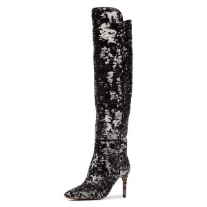 Black and Silver Sequined High Heel Boots Knee-high Boots