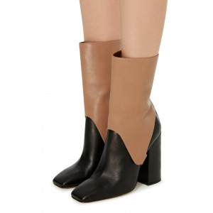 Black and Tan Saddle Style Mid Calf Boots Fashion Boots