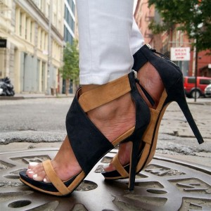 Black and Tan Suede Crossed Stiletto Heels Sandals