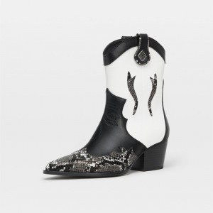 Black and White Block Heels Ankle Boots Fashion Cowgirl Boots
