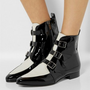 Black and White Buckles Round Toe Flats Ankle Booties