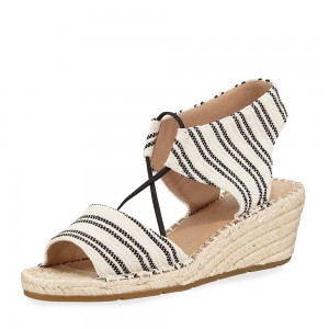 Black and White Canvas Wedge Sandals