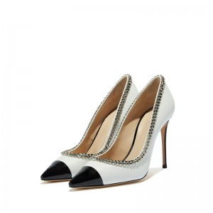 White and Black Chain Stiletto Heels Pointed Toe Pumps