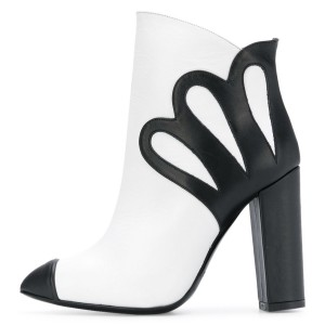 Black and White Chunky Heel Boots Fashion Ankle Booties