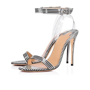 Black and White Clear Heels Sandals Sexy Transparent Slingback Sandals