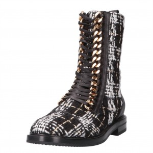 Black and White Combat Boots Metal Chain Lace Up Flat Ankle Boots
