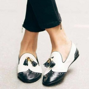 Black and White Tassels Hollow out Loafers Casual Shoes for women