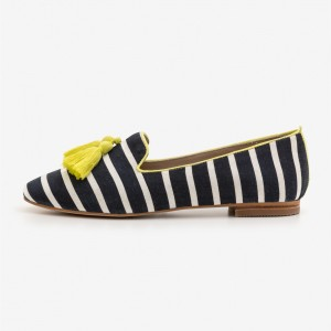 Black and White Flats Tassels Loafers for Women