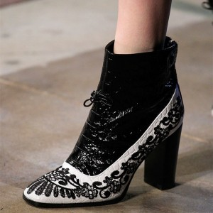 Black And White Embroidered Ankle Booties Chunky Heel Boots