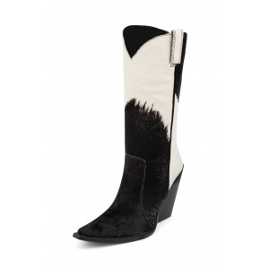 Black and White Fur Leather Cowgirl Boots Chunky Heel Mid Calf Boots