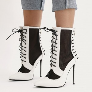 Black and White Heels Lace up Boots Pointy Toe Ankle Booties
