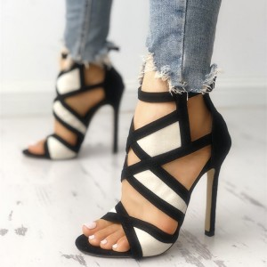 Black and White Heels Open Toe Sandals Hollow out Ankle Strap Sandals