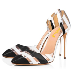 Black and White Heels Patent Leather Clear PVC Stiletto Heel Pumps