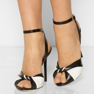 Black and White Heels Peep Toe Stiletto Heels Ankle Strap Sandals