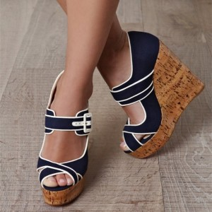 Navy Denim Heels Cork Wedges Peep Toe Platform Pumps