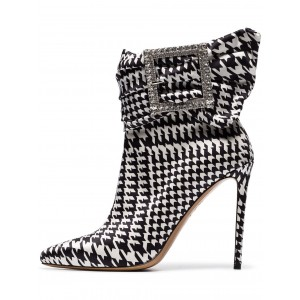 Rhinestone Buckles Boots Pointy Toe Houndstooth Ankle Booties