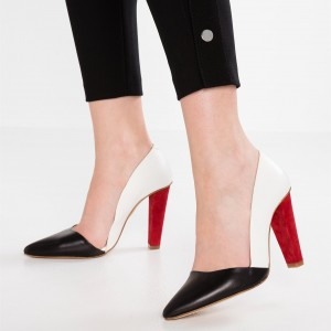 Black and White Heels Pointy Toe Cone Heels Office Shoes