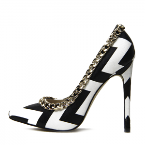 Black and White Heels Pointy Toe Stiletto Heels Pumps with Chain
