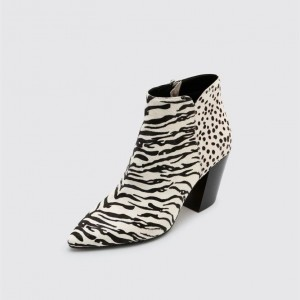 Black and White Horsehair Block Heel Boots Zebra Print Ankle Boots