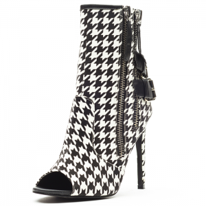 Black and White Houndstooth Buckles Stiletto Boots