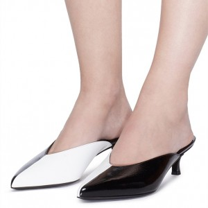 Black and White Kitten Heels Pointy Toe Mules