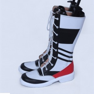 Black and White Lace up Boots Casual Mid-Calf Chunky Heel Boots