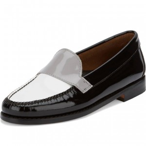 Black and White Loafers for Women Round Toe Comfortable Flats