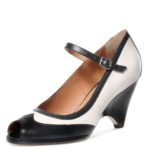 Black and White Peep Toe Mary Jane Pumps Chunky Heel Vintage Shoes
