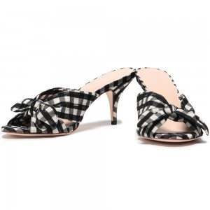 Black and White Plaid Bow Stiletto Heel Mule