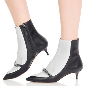 Black and White Pointy Toe Kitten Heel Boots with Chain