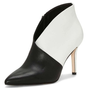 Black and White Pointy Toe Stiletto Heel Ankle Booties