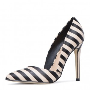 Black and White  Pointy Toe Stiletto Heels Pumps