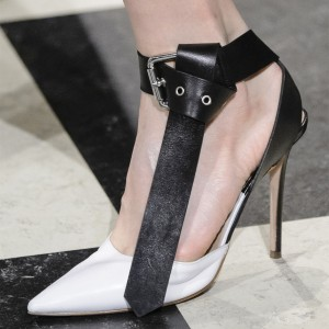 Black and White Heels Prom Shoes Stiletto Heels Ankle Strap Pumps