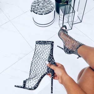 Black and White Python Nets Stiletto Heel Ankle Booties
