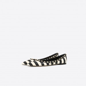 Black and White Rivets Pointy Toe Comfortable Flats