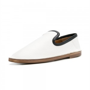 Black and White Round Toe Comfortable Flats Loafers for Women