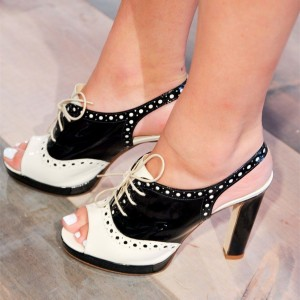 Black and White Slingback Heels Platform Chunky Heel Lace Up Sandals